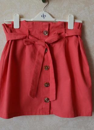 Крутая коралловая  юбка с пуговицами на завязках  высокая талия zara