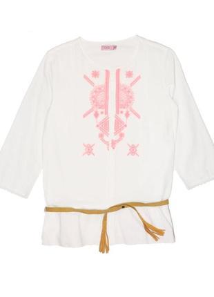 Новая рубашка с вышивкой и ремешком для девочки, ovs kids, 6640899