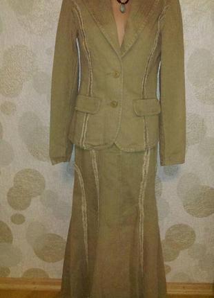 Винтаж обалденный костюм с необработанными краями из натуральной ткани