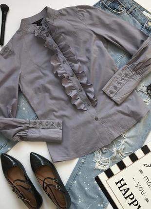 Красивая рубашка с воротником стойкой и жабо в викторианском стиле от mango размер s/36/8.