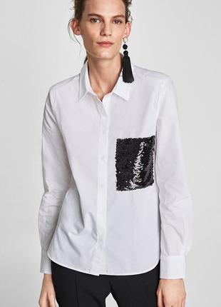 Белая нарядная рубашка с черным карманом из паеток zara размер xs/34/6.