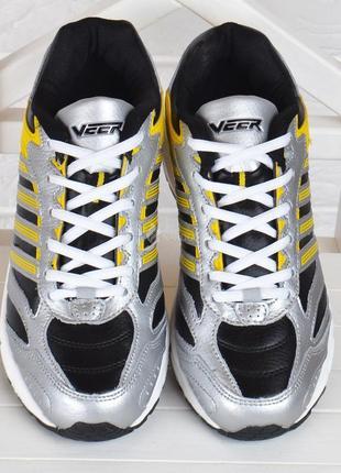 Кроссовки мужские кожаные veer черные желтые серебро