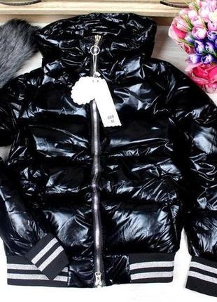 Стильная куртка с капюшоном, мех съемный. размер хл.