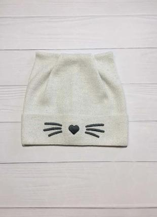 Крутая шапка для девочки с ушками котика на весну шапочка ушки кот