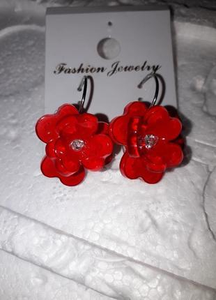 Серьги цветок красные