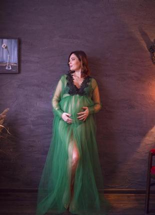 Будуарный халат платье зеленого цвета для беременных или небеременных плюс сайз.