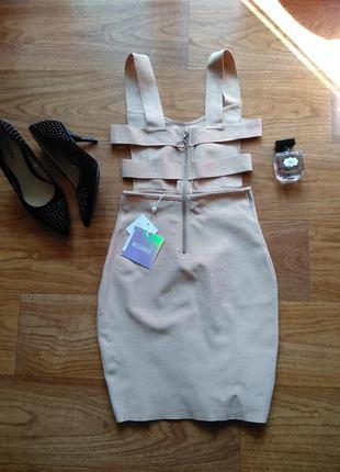 Сексуальное бандажное платье миди от missguided, цвет пудры, открытая спинка, новое!