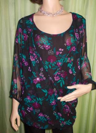 Невероятная, легкая и очень красивая блуза plus size цветочный принт ♥