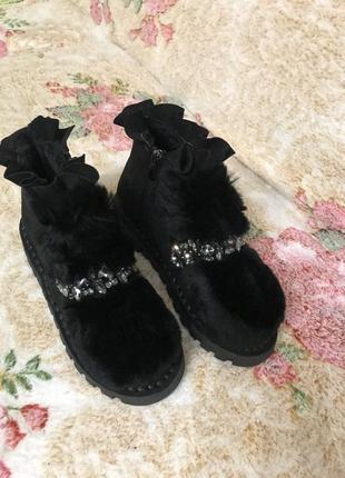 Ботинки туфли симпатичные ботинки натуральный мех кожаные замшевые