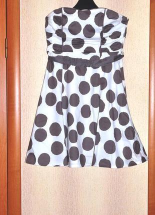 Платье в горох хлопковое нарядное  коктельное (большого размера ) 16 размера фирмы  coast
