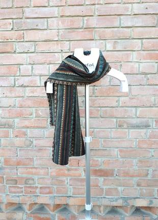 Шерстяной полосатый шарф этно