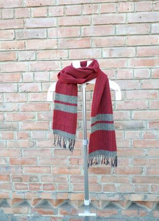 Шерстяной шарф полосатый