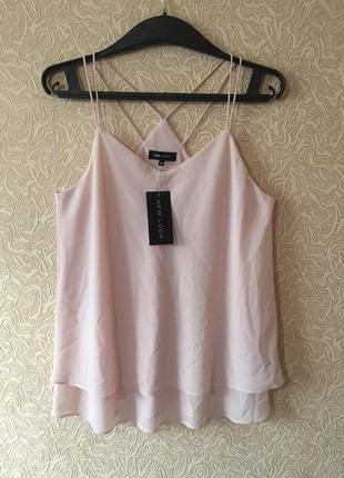 Новая роскошная блуза в бельевом стиле new look с интересной спинкой, l,пудра