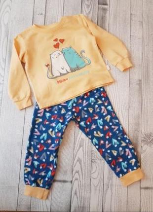 Красивая теплая пижама с начесом для девочки, бэмби, 3-4 года, 98-104