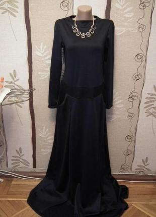 Очень красивое темно- синее платье в пол, личная вещь, почти новое