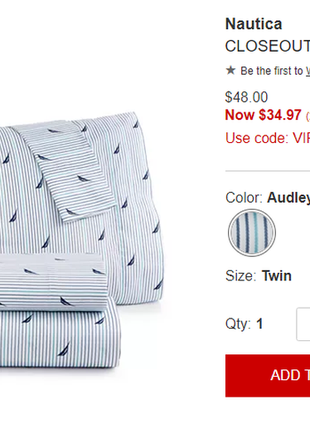 """Комплект постельного белья, размер twin, """"nautica"""", оригинал сша"""