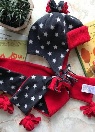Набор флис шапка и шарф в звезды mothercare на 3-6 лет