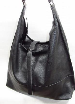 Черная сумка мешок большая кожаная женская натуральная кожа шоппер вместительная италия