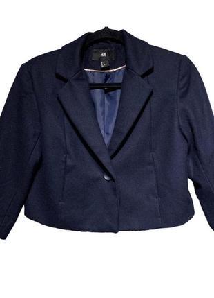 1fa5f231cfd Брендовый темно-синий шерстяной пиджак жакет блейзер h m recycled wool