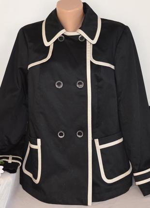 Брендовый черно-белый коттоновый плащ тренч с карманами marks&spencer этикетка