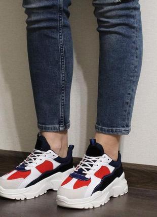 Модные женские разноцветные кроссовки на толстой подошве