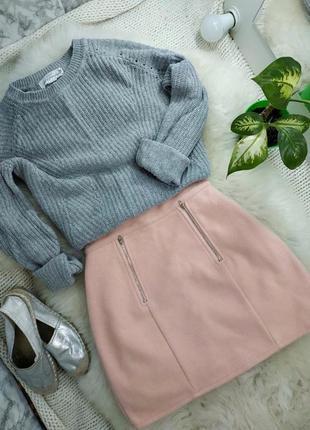 Милая пудровая нежно-розовая юбка трапеция высокая посадка талия на замочке
