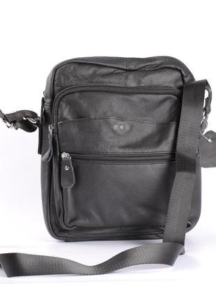 Кожаная мужская сумка на длинной ручке, классика