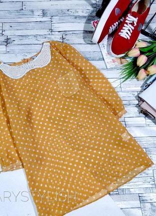 Нежная красивая блузка в горох с воротником в бусинки