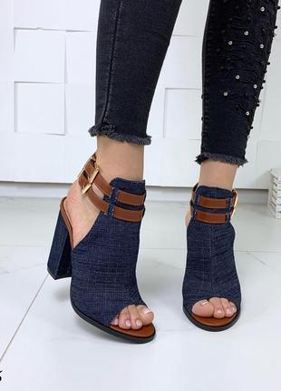 Стильные джинсовые босоножки с ремешками2 фото
