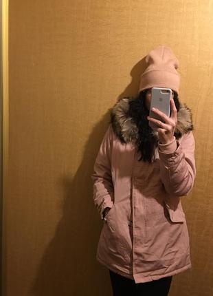 Парка пальто куртка пудра розовое нюдовое zara