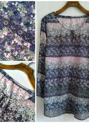 Очаровательная невесомая блуза/рубашка в нежный цветочный принт