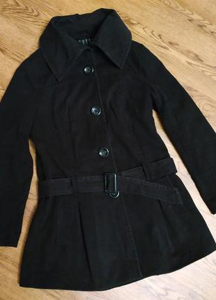 Пальто короткое коттоновое демисезонное, черное полупальто весна-осень, жакет