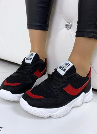 Стильные черно-красные кроссовки на фигурной подошве8 фото