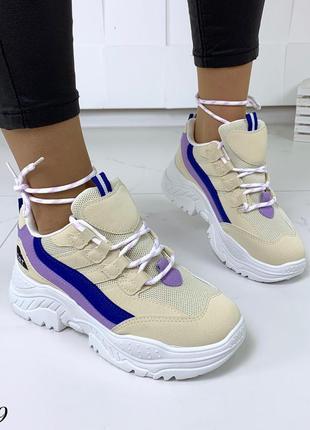 Стильные и мягкие кроссовки на фигурной подошве5 фото
