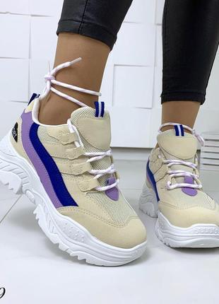 Стильные и мягкие кроссовки на фигурной подошве4 фото