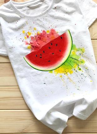 Handmade 🎨 біла футболочка з кавунчиком🍉 всі розміра .