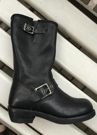 Крутые,кожа,сапоги,ботинки-байкерские,оригинал,harley davidson ,37размер