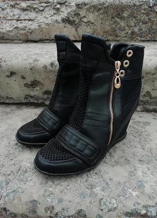 Ботинки rima кожа перфо танкетка