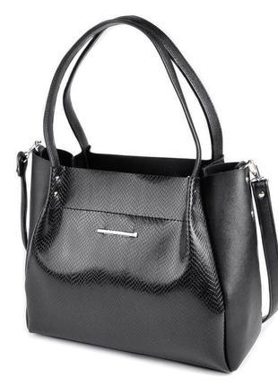 Чёрная женская сумка шоппер из экокожи под питона с длинными ручками