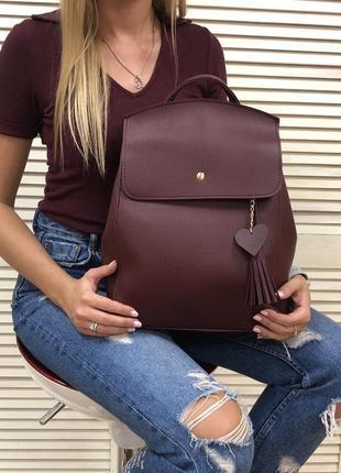 2в1 бордовая сумка-рюкзак трансформер для а4.женский городской молодёжный рюкзак экокожа