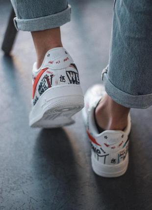 Креативные кроссовки nike из кожи в белом цвете2 фото