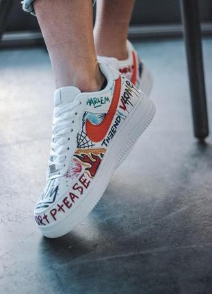 Креативные кроссовки nike из кожи в белом цвете3 фото