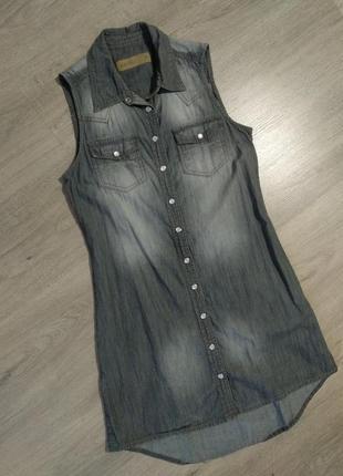 Джинсовое платье рубашка amisu