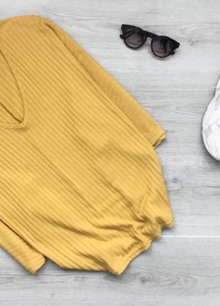 Крутой реглан/джемпер/кофта в рубчик с v-образным вырезом new look