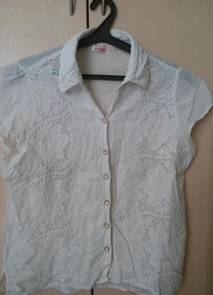 Белая батистовая блуза индиано