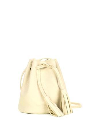 Стильная сумка-ведро, цвет лемонад, натуральная кожа