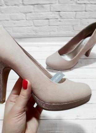 Туфли замш розовые пудровый блестящий каблук