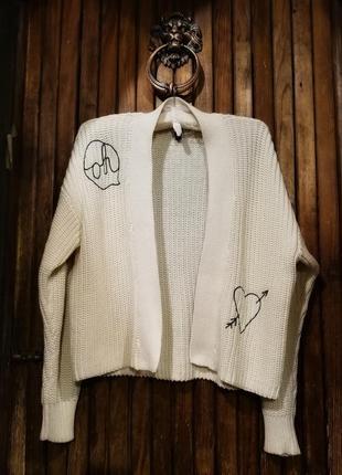 Интересный кардиган кофта накидка летняя коттон с вышивкой