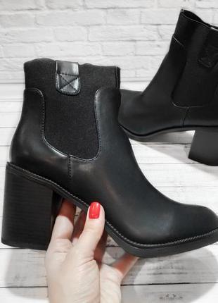 Ботинки весна осень черные на устойчивом каблуке