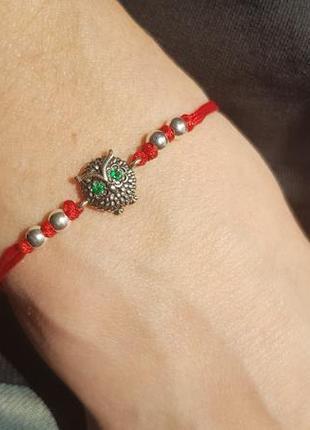 Браслет красная нить со вставками серебро2 фото